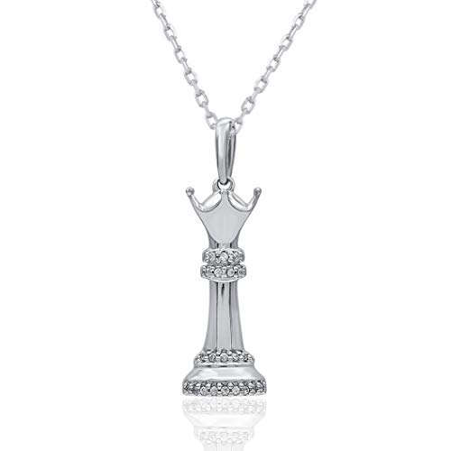0.04 Carat Natural Diamond Pendant Necklace 925 Sterling Silver (HI Color, I3 Clarity) Diamond Pendant Necklace in Chess Symbol for Women Diamond Jewelry Gifts for Women ()
