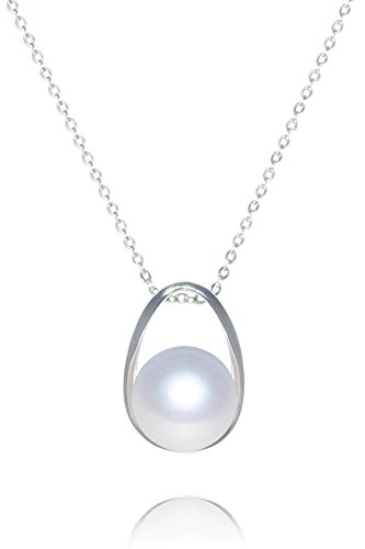 White Freshwater Pearl Pendant Necklace Sterling Silver, 11mm Pearl, 16