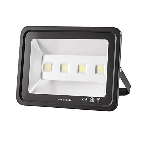Gianor 200W LED Flood Light Super Bright Security Lights Day White 6000K, 20000 Lumen IP65 Waterproof Spotlight for Parking Lot Lighting/Street Light/Billboard ()