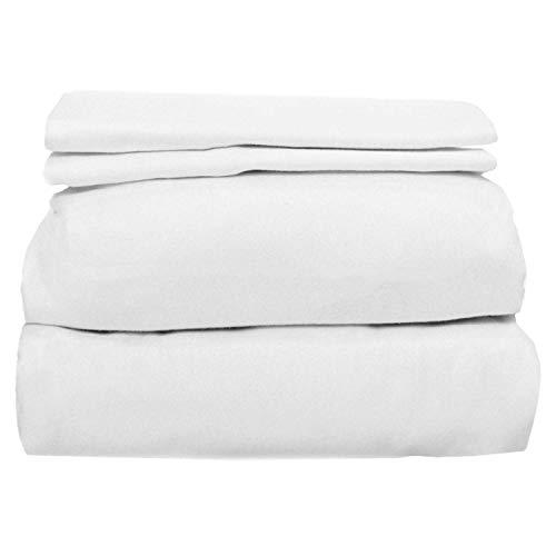 COYUCHI Cloud Brushed Organic Flannel Sheet Set (Full, Alpine White)