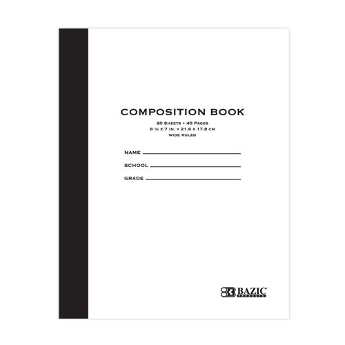 BAZIC 20 ct. 8.5'' x 7'' Manila Cover Composition Book, Case Pack of 288