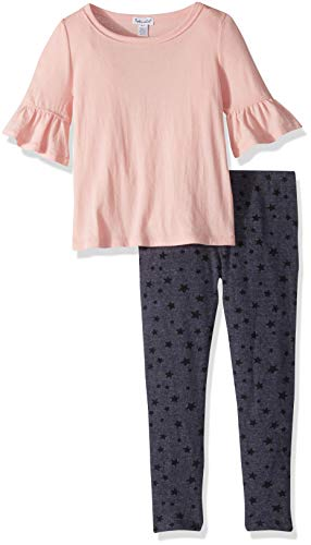 Splendid Toddler Girls' Kids and Baby Short Sleeve Top and Bottom 2 Piece Set, Antique/Pink/Beige 4T