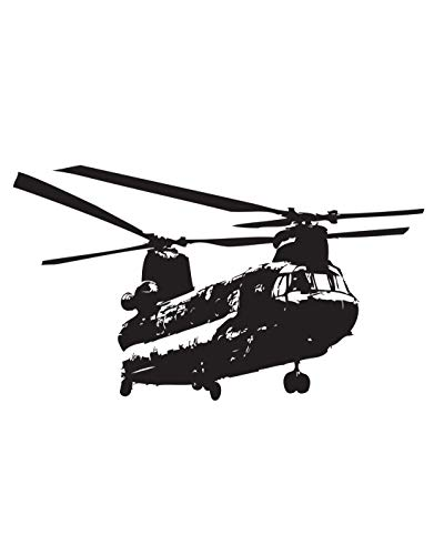 Stickerbrand Military Chinook Helicopter Wall Decal 34in X 60in Size. (Black) #1274s