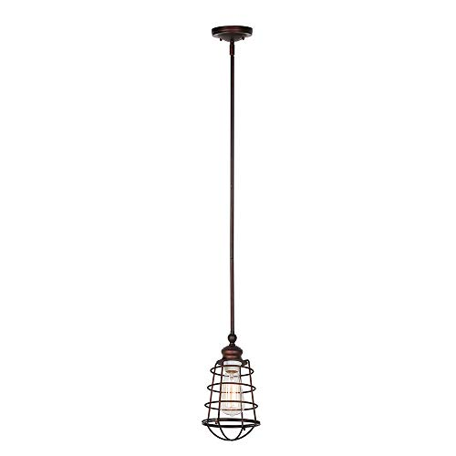 Design House 519652 Ajax 1 Light Mini Pendant, Bronze
