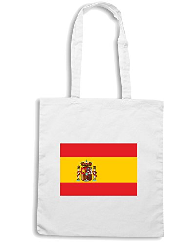 T-Shirtshock - Bolsa para la compra TM0245 Spain flag Blanco