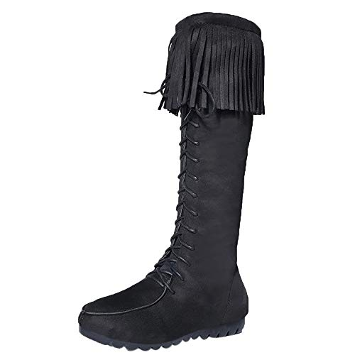 HARRYSTORE Women Knee Long Flat Boots Fringe Tassel Knee High Boot Lace Up Shoes Black
