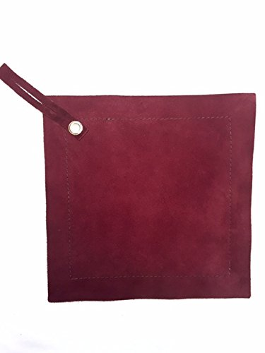 (Suede Leather Pot Holder 9x9 - BURGUNDY)