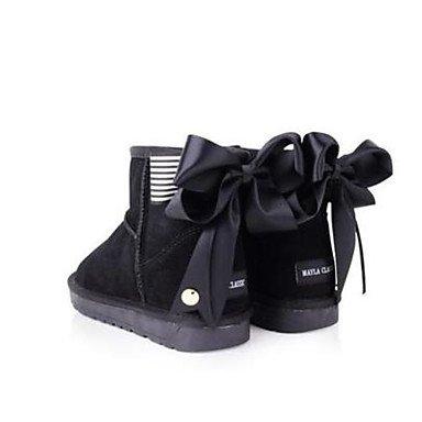 La mujer Confort Botas de cuero Suede Primavera confort informal marrón oscuro gris negro plano Black