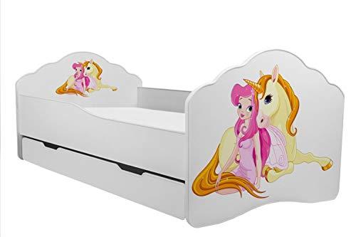 KOBI Lettino per Bambini Letto Ragazza con Unicorno