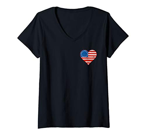 Womens Betsy Ross Flag Two Sided Distressed American Flag Heart V-Neck T-Shirt
