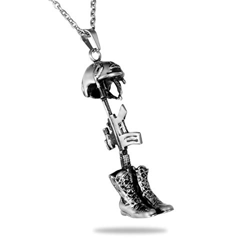 B&Y Bullet American Flag Cremation Ashes Urn Necklace Memorial Pendant Stainless Steel Waterproof Jewelry (Soldier)