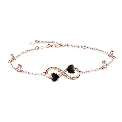 OneSight Infinity Ankle Bracelet for Women, 925 Sterling Silver Charm Adjustable Anklet, Large Bracelet (Rose-Gold-Plated-Sterling-Silver) ()
