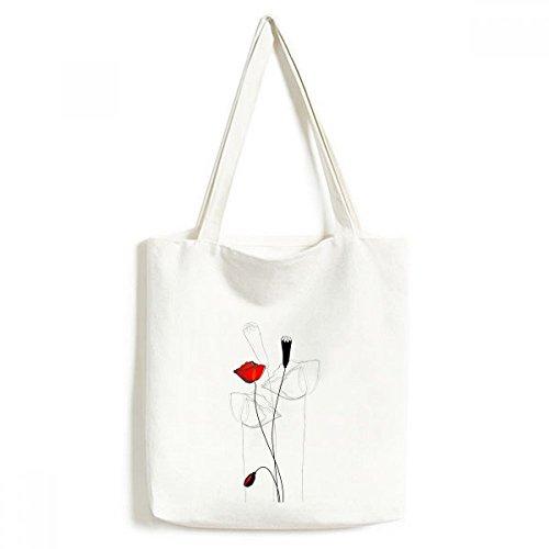Art alla Corn Abstract borse pittura moda Fiore borsa rosso spesa Bud nero della Poppy design ambientale regalo tela grande capacità borsa Line 0Iwqpvt