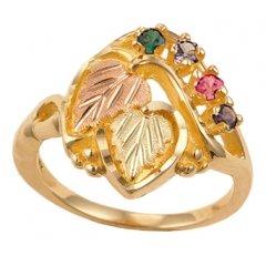 Black Hills Gold Mothers Ring (Black Hills Gold Mother's Ring - 2 stones - G930)