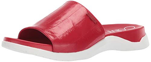 Eel Leather - Calvin Klein Women's UBI Flat Sandal Scarlet high Gloss EEL Leather 7 M US