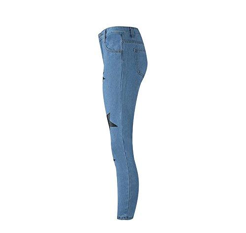 Jeans Pantalon Skinny d't avec Bleu Jeans Jeans Femme Jeans imprim Oudan Hipster toiles Jeans Skinny HdTqwCzxn