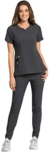 Scrub Gold Top (Cherokee Statement Women's Scrub Set Bundle- CK695 Curved V-Neck Top & CK055 Straight Leg Pant & MS Badge Reel (Pewter - Large/Large Petite))
