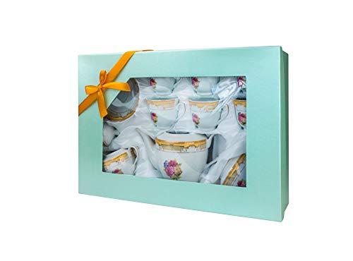 Imperial Gifts 903B-17, Porcelain Floral Gold 17 Pieces Tea Set, Serving Set, Tea Party Set