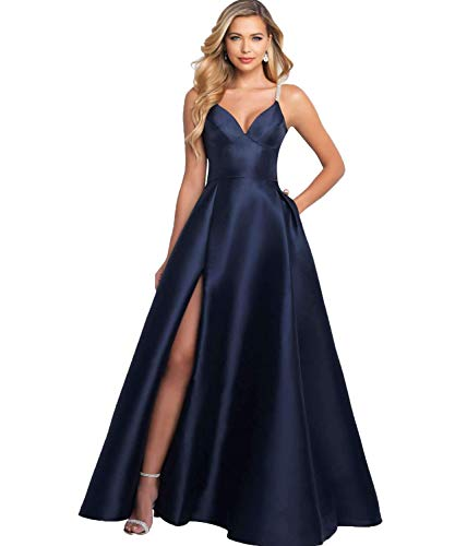 YGSY Women's Deep V Neck Spaghetti Straps A-line Beaded Slit Satin Evening Prom Dress Long Formal Party Ball Gown with Pockets US10 Navy Blue