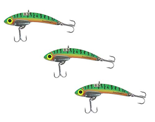 SteelShad - Lipless Crankbait for Freshwater & Saltwater Fishing - Long Casting Bass Lure Perfect for Bass, Pike, Musky, Walleye, Trout, Salmon and Striper - Perch 3 Pack