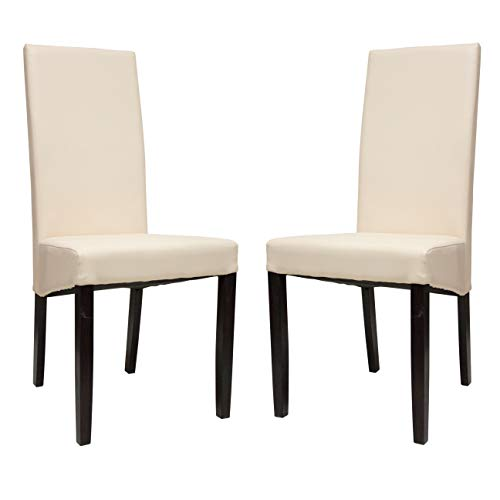 Premium Tobago Cream Dining Chairs Set by Furniture Estate | Modern Faux Leather Side Chairs with Wooden Frame and Legs for Home and Restaurant Use - Set of 2