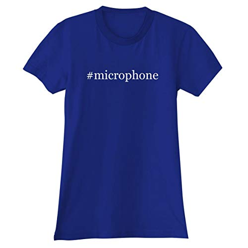 The Town Butler #Microphone - A Soft & Comfortable Hashtag Women's Junior Cut T-Shirt, Blue, XX-Large