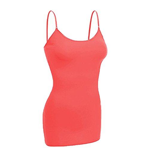 Long Coral (Emmalise Women's Basic Casual Long Camisole Cami Top Regular and Plus Sizes, Coral, Large)
