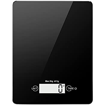 AMIR Digital Kitchen Scale, 11lb/ 5kg Electronic Food Scale, Tempered Glass Cooking scale with 4 Units, Large LCD Display, Auto Off, Tare Function, Touch Sensitive Button, Battery Included, Black