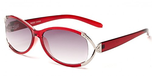 Readers.com The Claire Sun Readers for Women Oval Reading Glasses Trendy Readers Sunglasses + 2.25 Red and Silver (Microfiber Cleaning Carrying Pouch Included)