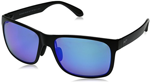 Maui Jim Red Sands Sunglasses - B432-2M Matte Black (Blue Hawaii Lens) - - Maui Jim Blue