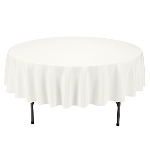 Remedios Round Polyester Tablecloth - for Wedding, Restaurant, or Banquet use, Ivory, 90-inch
