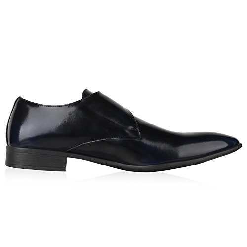 Business Herren Schuhe Schnallen SCARPE VITA Dunkelblau Monks q6Ewn80