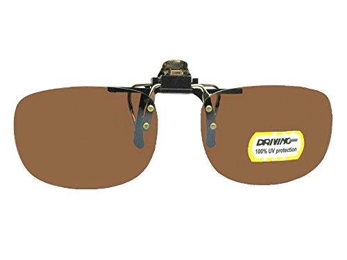 Driving Lens Rectangle Non Polarized Flip Up Sunglasses (Gold/Black-Non Polarized Driving Lenses, 56mm W x 40mm - Attachment Up Sunglasses Flip