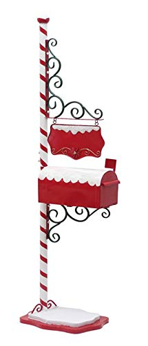 TisYourSeason North Pole Mailbox Christmas Decoration with Hanging Sign to Personalize Santa -