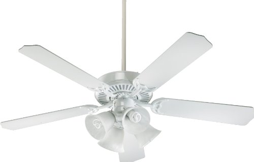 Quorum International 77525-8106 Capri V 52-Inch 4 Light CFL Ceiling Fan, Gloss White Finish with Faux Alabaster Glass Shades and White Blades