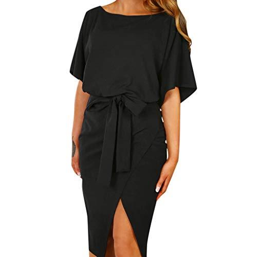 UONQD Women Summer Short Sleeve Wrap Dress Ladies Plain Tie Wasited Slim Midi Dresses Black