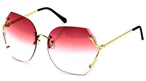 Womens XL Rimless Oversized Square Butterfly Sunglasses (Gold Frame, Peach Clear - Rimless Sunglasses Oversized