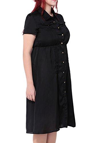 Damen Kurzarm Single Breasted Kleid