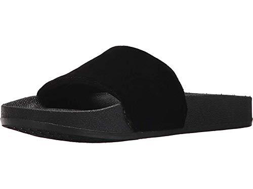 Chooka Women's Slide Sandal with molded footbed and Plush Velvet upper, Velvet Black, 10 M US