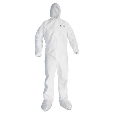 A20 Elastic Back And Ankle Hood And Boot Coveralls, White, X-Large, 24/carton