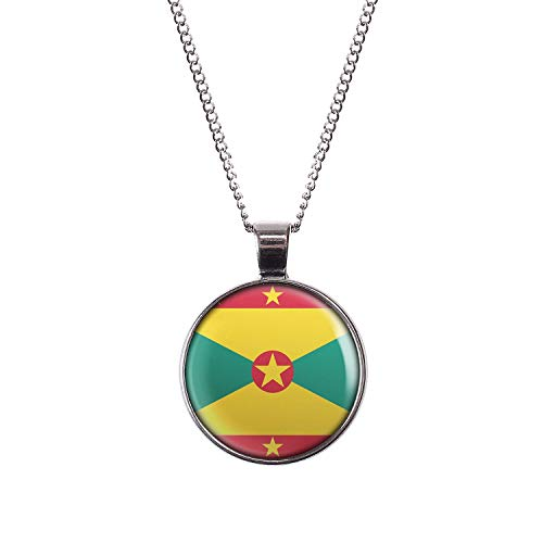 Mylery Necklace Cabochon Picture Grenada St. George's Flag Silver 1.1 inch