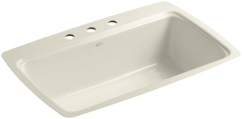 Kohler K-5864-3-47 Cape Dory Tile-In Kitchen Sink with Three-Hole Faucet Drilling, Almond