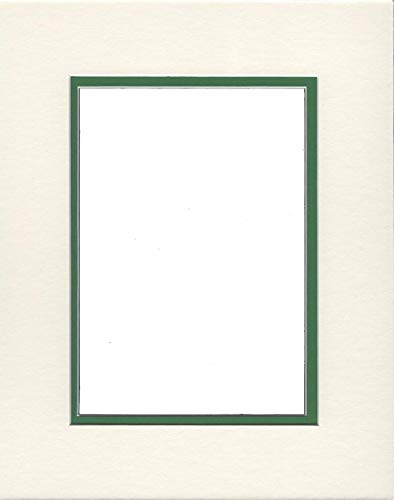 16x20 Double Acid Free White Core Picture Mats Cut for 12x16 Pictures in Cream and Bright Green Double Acid Free Mat