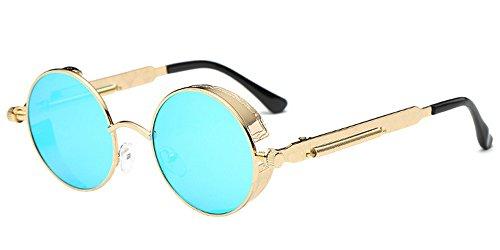 de femmes Cyclisme Hommes Retro Lunettes de Cadre soleil Punk Lunettes Métal KINDOYO Bleu pour soleil Or Classique Lentille les Rond 4nZ6tqwx0B