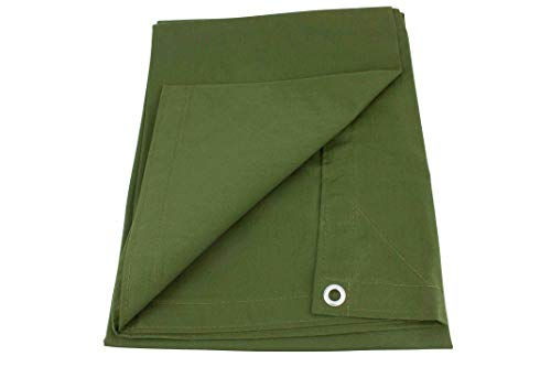 10' x 12' Green Canvas Tarp 12oz Heavy Duty Water Resistant (10 Ounce Canvas Tarp)