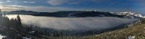 Unoopler Poster Lake Donner Tahoe California Foggy Winter Morning Panoramic Landscape Photo 24x16 inch Stretched Canvas Art Print 16x24 -