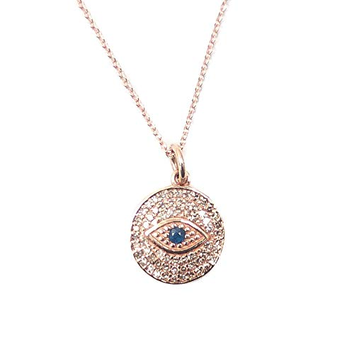 14kt Rose Gold, Diamond, and Blue Sapphire Evil Eye Charm Necklace - 14, 15, and 16 Inches Long Adjustable Length Necklace by Miller Mae Designs ()