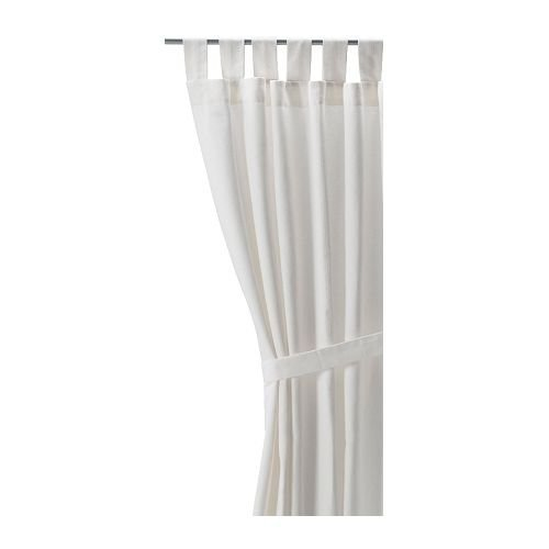 Ikea LENDA Pair of curtains with tie-backs, white (bleached) 2 Panels (Curtain Ikea)