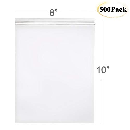 Hengu Poly Self Sealing Bag , Big Clear Reclosable Storage bags for Home/Office/Outdoor, 8x10