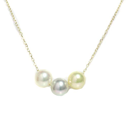 - Akoya Pearl Necklace 7.5-8 MM 14kt Rose, White Or Yellow Gold chain 14
